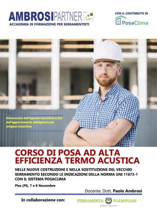 CORSO POSACLIMA A PISA NOVEMBRE 2018